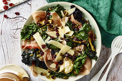 Kale Salad with Prosciutto Pumpkin Seeds and Cranberry Balsamic Vinaigrette
