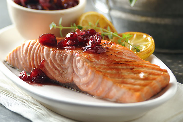 Grilled Salmon with Five-Spice Cranberry Relish